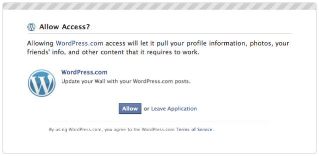 authorisasi publicize wordpress ke facebook