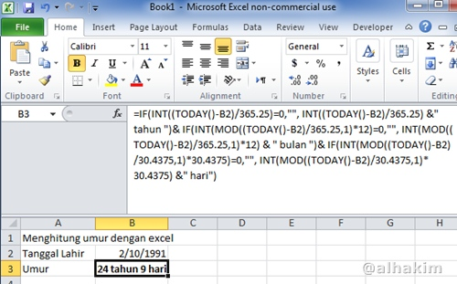 Hasil Hitung Umur dengan Rumus Excel