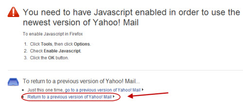 how to switch back to yahoo mail classic