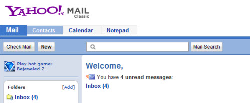 welcome yahoo mail classical view