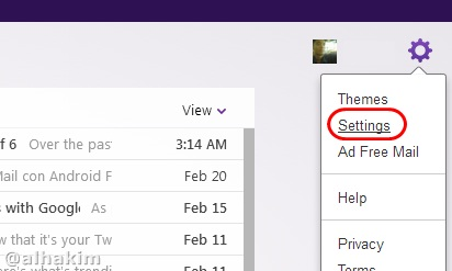 Yahoo Mail setting