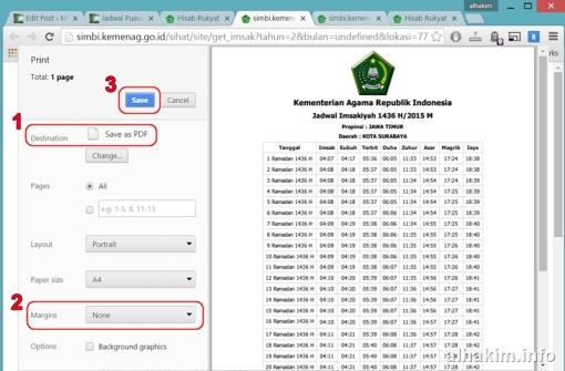 cetak jadwal imsak ke PDF