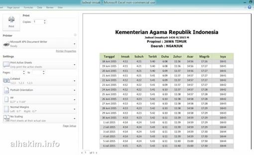 Jadwal Ramadhan format Excel siap cetak