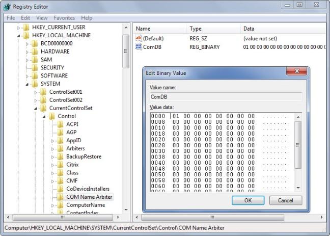 clear comp port windows 7