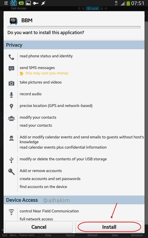 Instal BBM tablet android