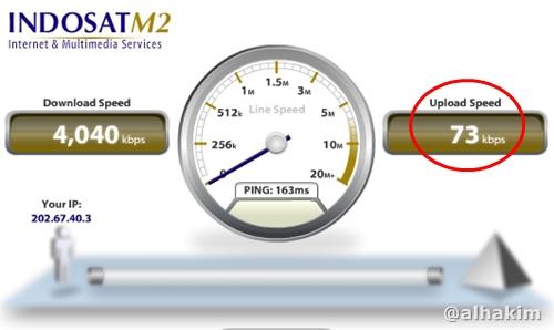 Hasil speed test di kartu 3 dan modem e220