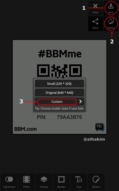 Simpan gambar BBMme di pixlr express
