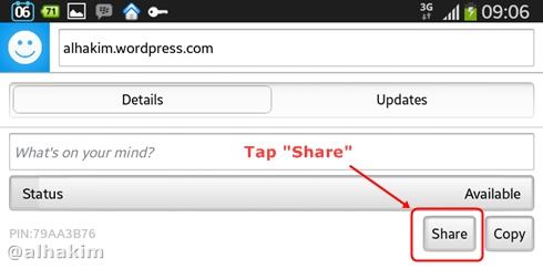 Tap tombol share di BBM