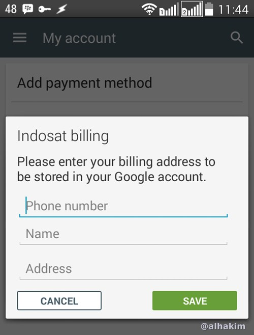 Isi data nama alamat untuk beli android app dengan pulsa