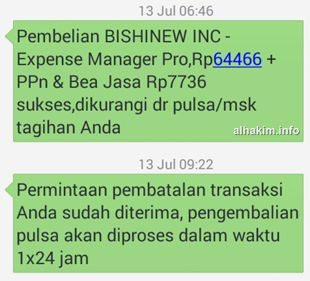 SMS Beli Apps and Refund