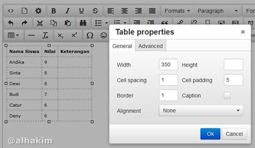 setting properti tabel