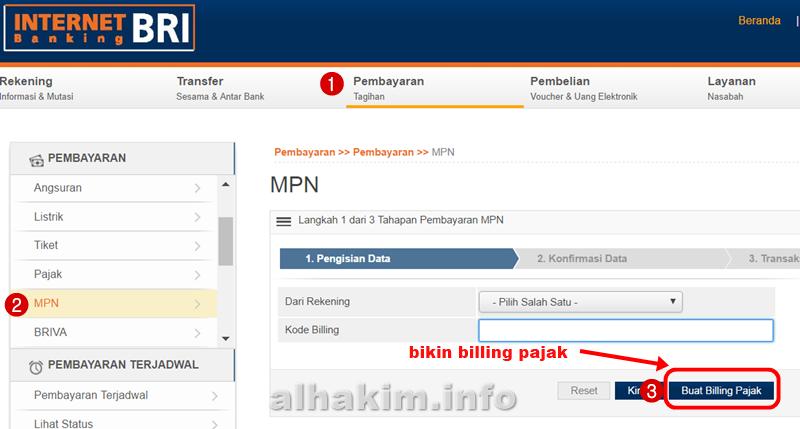 Bayar Pajak Dan Buat Kode E Billing Via Internet Banking Bri My Simple Blog